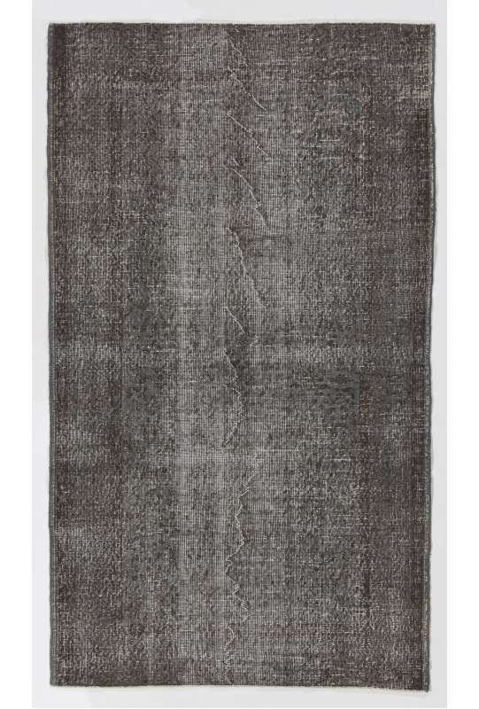 "3'9"" x 6'6"" (115 x 200 cm) Gray Color Vintage Overdyed Handmade Turkish Rug, Gray Overdyed Rug"