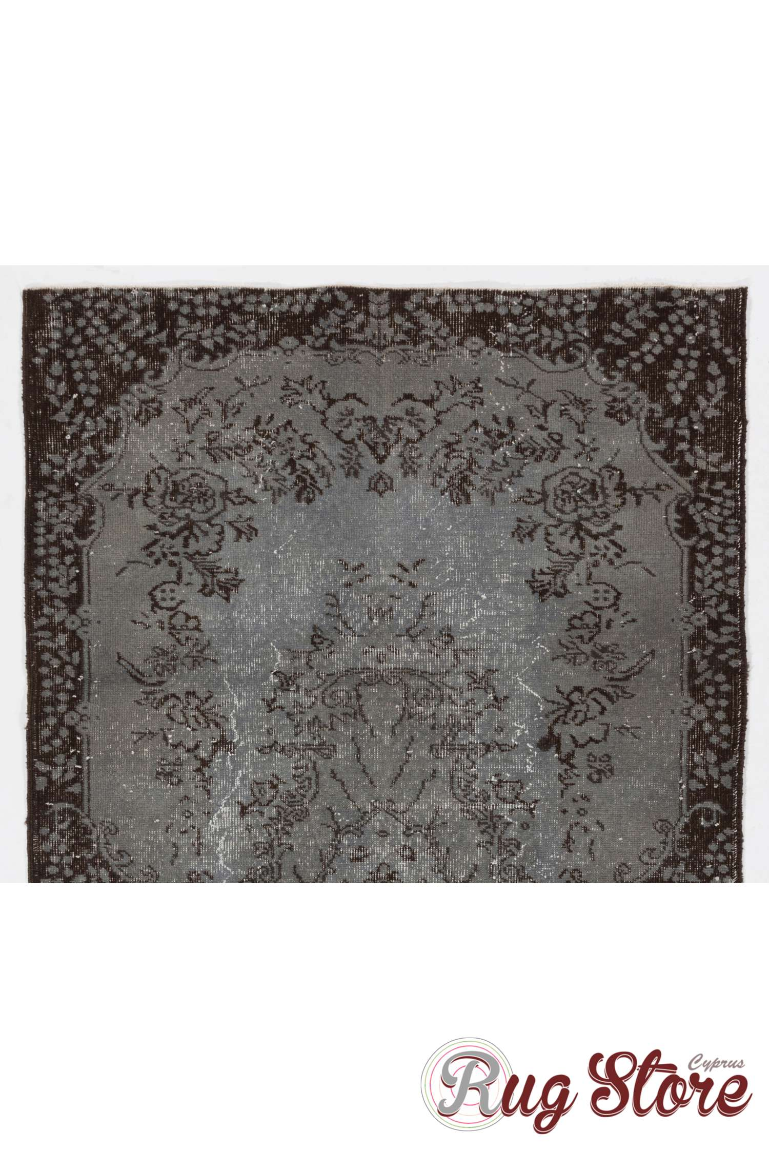Gray Color Vintage Overdyed Handmade Turkish Rug With