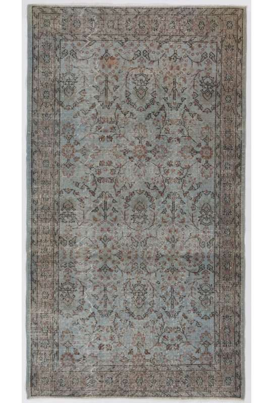 4' x 7' (122 x 218 cm) Gray Color Vintage Overdyed Handmade Turkish Rug, Gray Overdyed Rug