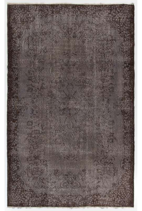 "5'11"" x 9'4"" (182 x 286 cm) Gray Color Vintage Overdyed Handmade Turkish Rug with Brown Underlying patterns, Gray Overdyed Rug"