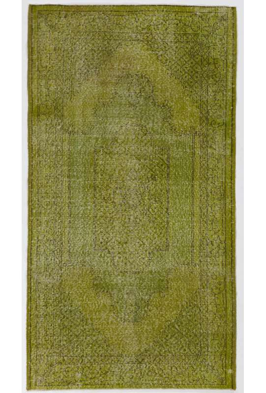 Green Overdyed Rug 4' x 7' (119 x 223 cm) Turkish Handmade Rug, Green Handmade Overdyed Rug
