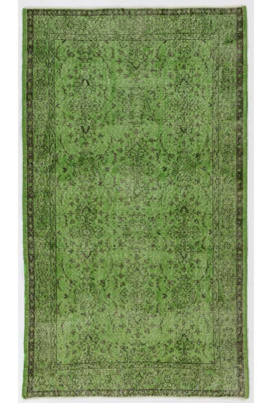"3'10"" x 6'8"" (118 x 204 cm) Light Green Color Vintage Overdyed Handmade Turkish Rug, Green Overdyed Rug"