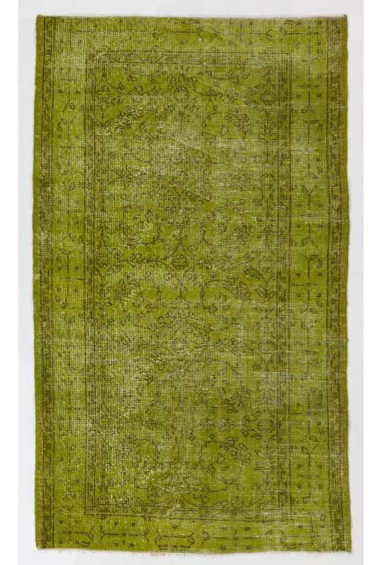 "3'10"" x 6'8"" (119 x 204 cm) Moss Green Color Vintage Overdyed Handmade Turkish Rug, Green Overdyed Rug"