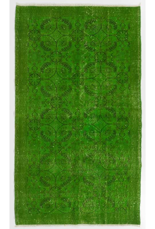 "3'11"" x 6'10"" (121 x 209 cm) Green Color Vintage Overdyed Handmade Turkish Rug, Green Overdyed Rug"