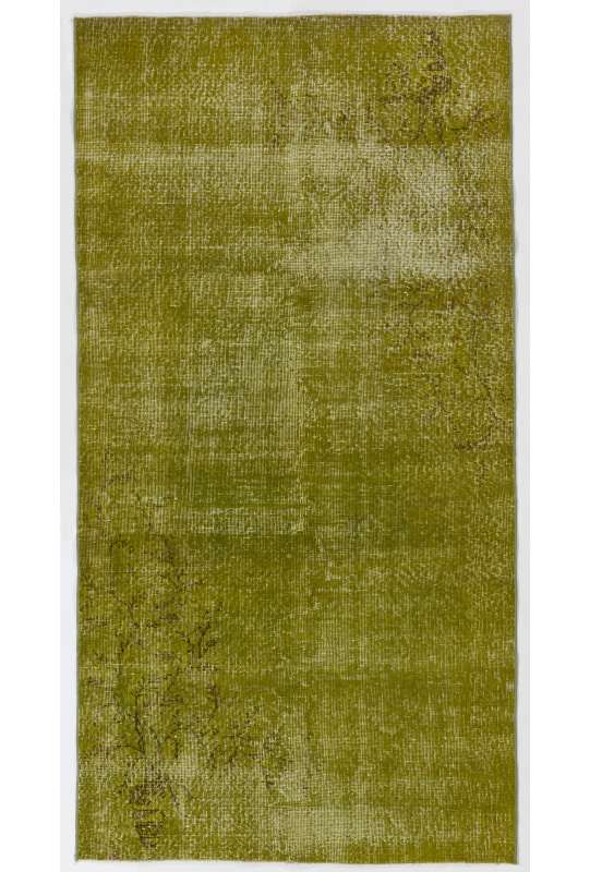 "3'7"" x 6'11"" (111 x 213 cm) Moss Green Color Vintage Overdyed Handmade Turkish Rug, Green Overdyed Rug"