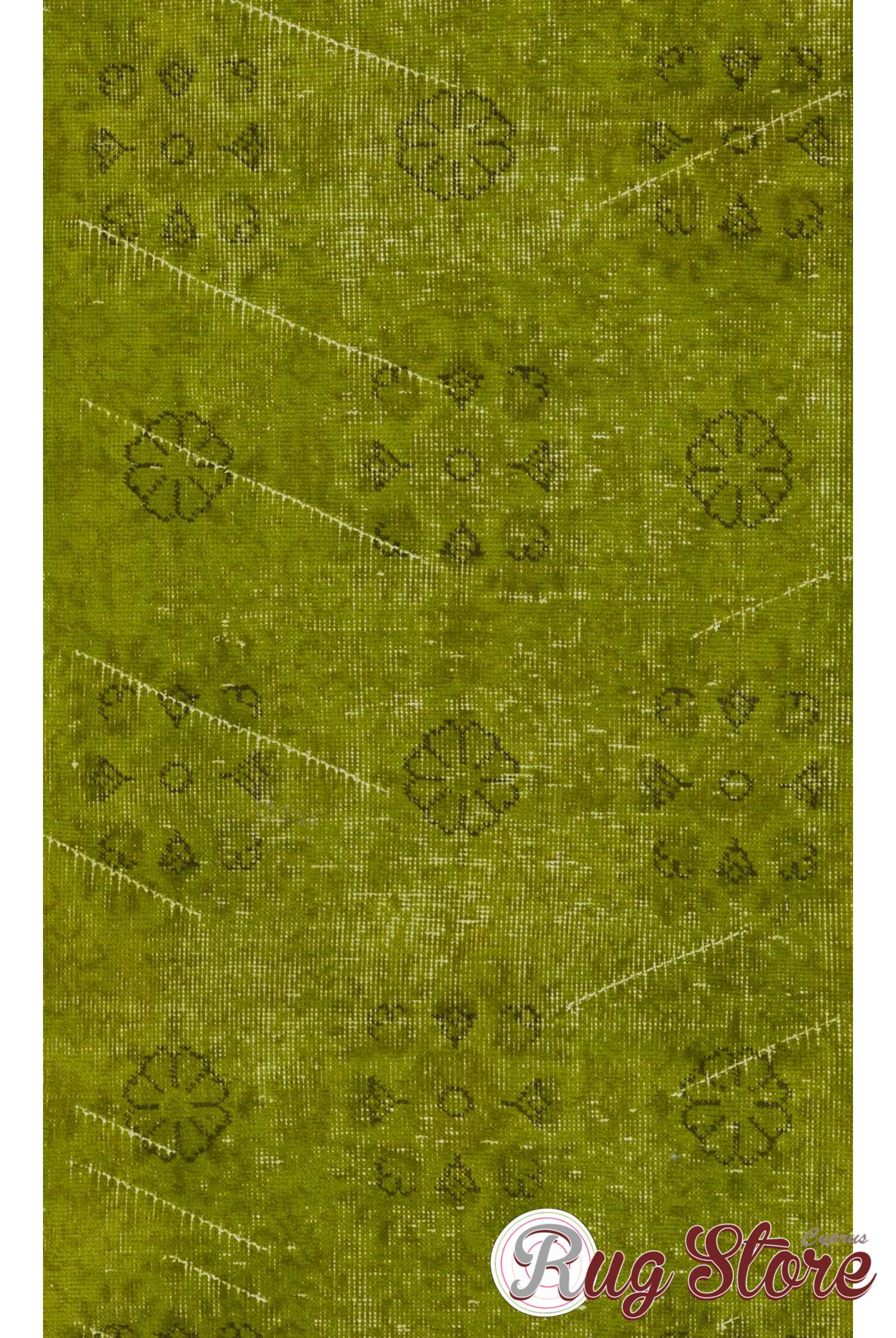 Moss Green Color Vintage Overdyed Handmade Turkish Rug