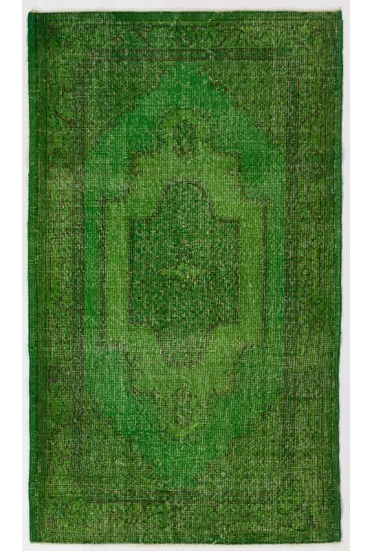 "4' x 6'6"" (122 x 206 cm) Green Color Vintage Overdyed Handmade Turkish Rug, Green Overdyed Rug"