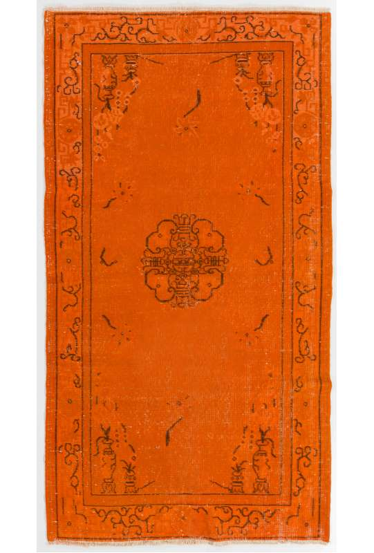 "3'7"" x 6'8"" (110 x 205 cm) Orange Color Vintage Overdyed Handmade Turkish Rug, Orange Overdyed Rug"