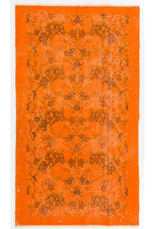 "3'8"" x 6'5"" (112 x 196 cm) Orange Color Vintage Overdyed Handmade Turkish Rug, Orange Overdyed Rug"