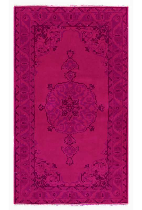 "3'10"" x 6'10"" (119 x 209 cm) Deep Pink Color Vintage Overdyed Handmade Turkish Rug, Pink Overdyed Rug"
