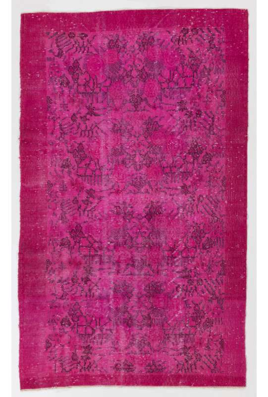 "3'11"" x 6'5"" (120 x 197 cm) Fuchsia Pink Color Vintage Overdyed Handmade Turkish Rug, Pink Overdyed Rug"