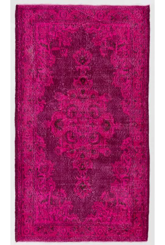 4' x 7' (123 x 213 cm) Pink Color Vintage Overdyed Handmade Turkish Rug, Pink Overdyed Rug