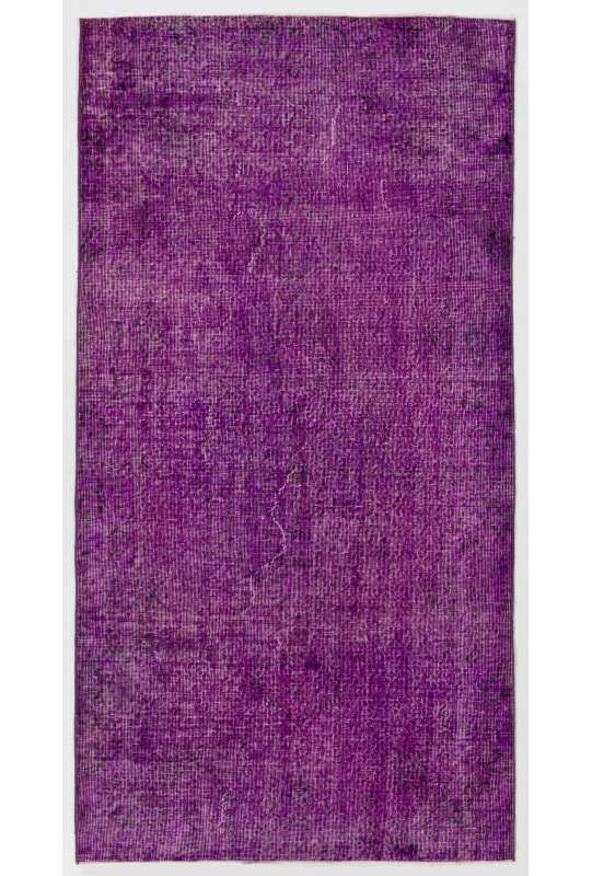 "3'9"" x 7'2"" (116 x 220 cm) Purple Color Vintage Overdyed Handmade Turkish Rug, Purple Overdyed Rug"