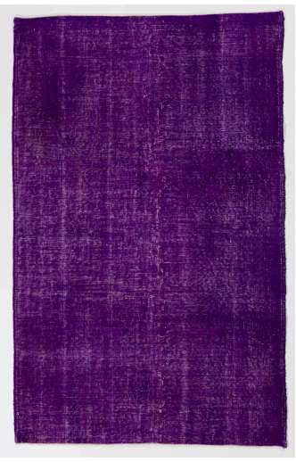 "4' x 6'4"" (122 x 195 cm) Purple Color Vintage Overdyed Handmade Turkish Rug, Purple Overdyed Rug"