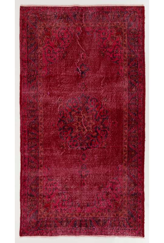 "3'9"" x 7'2"" (120 x 222 cm) Dark Red Color Vintage Overdyed Handmade Turkish Rug, Red Overdyed Rug"