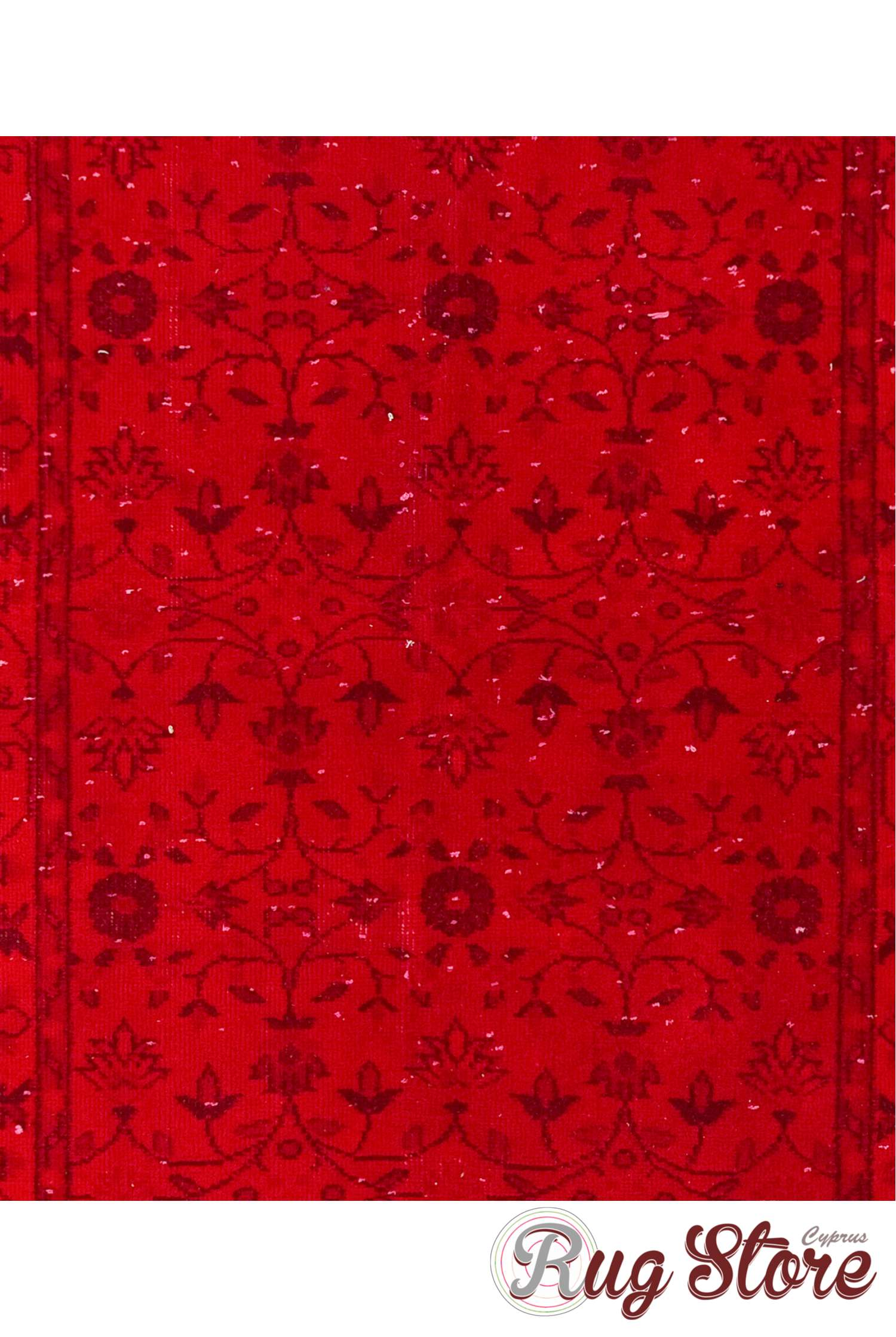 Red Color Vintage Overdyed Handmade Turkish Rug, Red