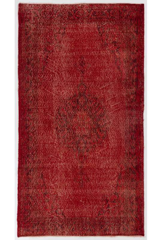 "3'10"" x 6'11"" (118 x 213 cm) Dark Red Color Vintage Overdyed Handmade Turkish Rug, Red Overdyed Rug"