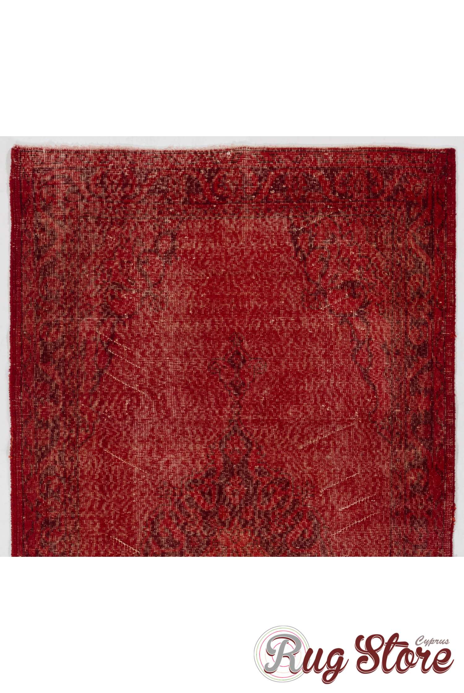 Red Color Vintage Overdyed Handmade Turkish Rug Red