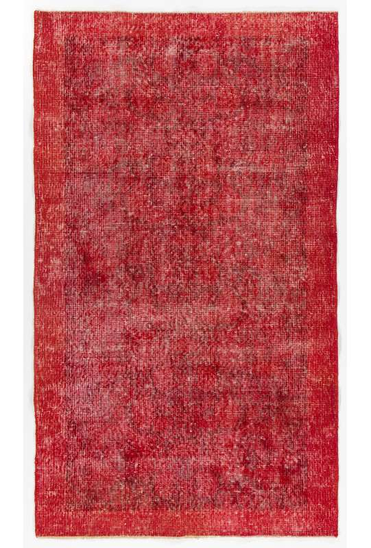 "3'10"" x 6'9"" (118 x 206 cm) Red Color Vintage Overdyed Handmade Turkish Rug, Red Overdyed Rug"