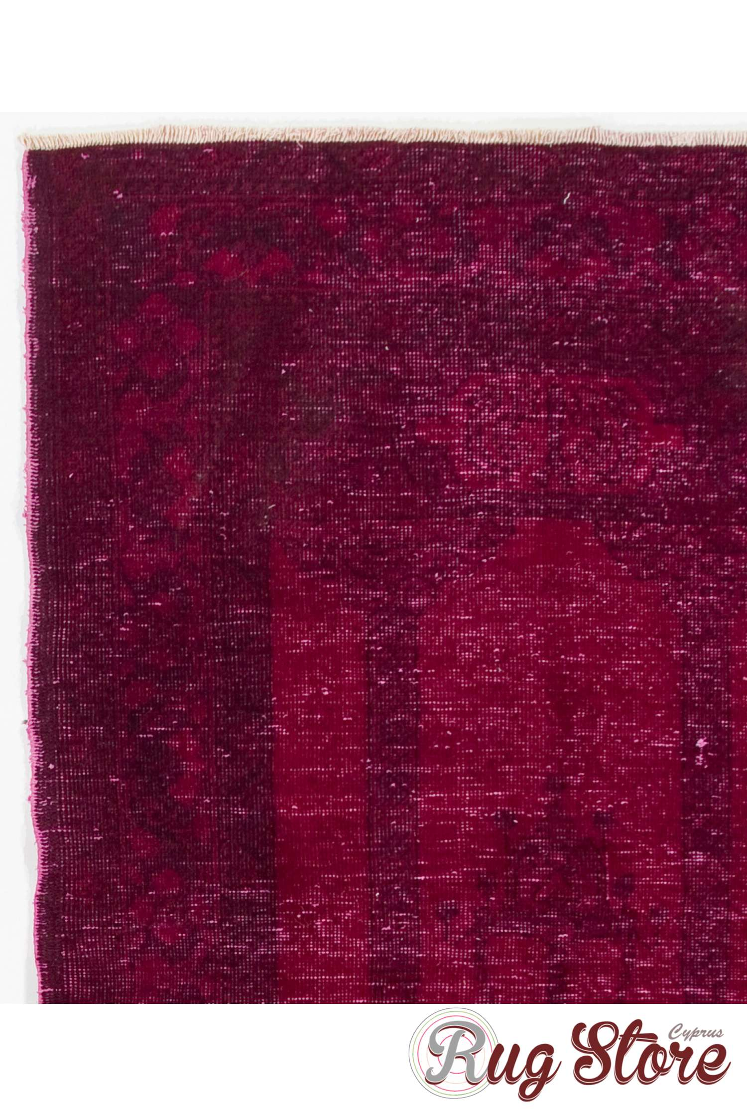 Burgundy Red Color Vintage Overdyed Handmade Turkish Rug
