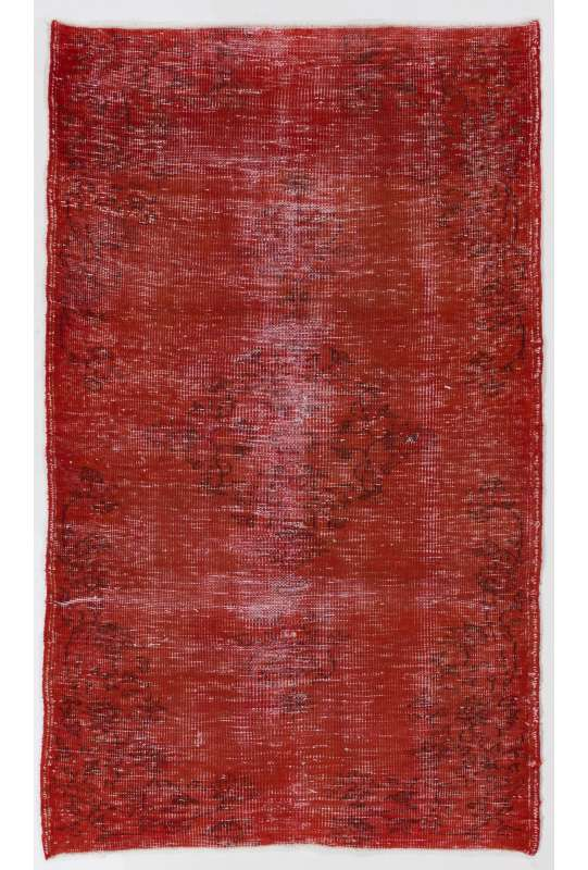 """3'9"""" x 6'2"""" (115 x 190 cm) Lava Red Color Vintage Overdyed Handmade Turkish Rug, Red Overdyed Rug"""