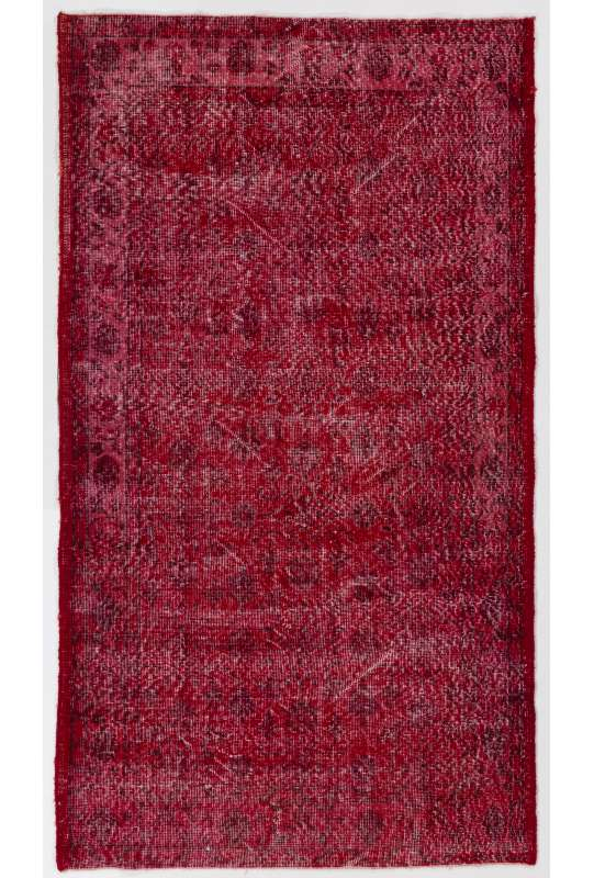4' x 7' (120 x 213 cm) Red Color Vintage Overdyed Handmade Turkish Rug, Red Overdyed Rug