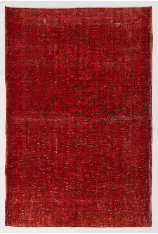 """5'1"""" x 7'10"""" (156 x 240 cm) Red Color Vintage Overdyed Handmade Turkish Rug, Red Overdyed Rug"""