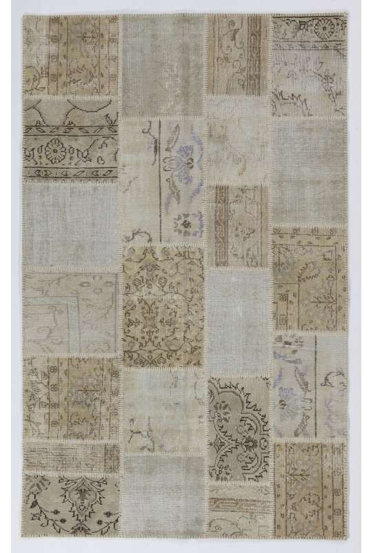 152x245 cm Beige & Cream Color PATCHWORK Rug, Overdyed Washed out neutral colors