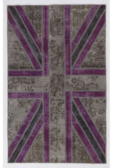 152x245 cm Gray and Purple Color Union Jack British FLAG Design Patchwork Rug