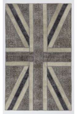 152x245 cm Gray & Beige British Flag Union Jack Design PATCHWORK Rug