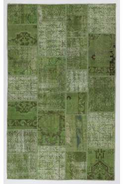 152x245 cm Green Color Patchwork Rug