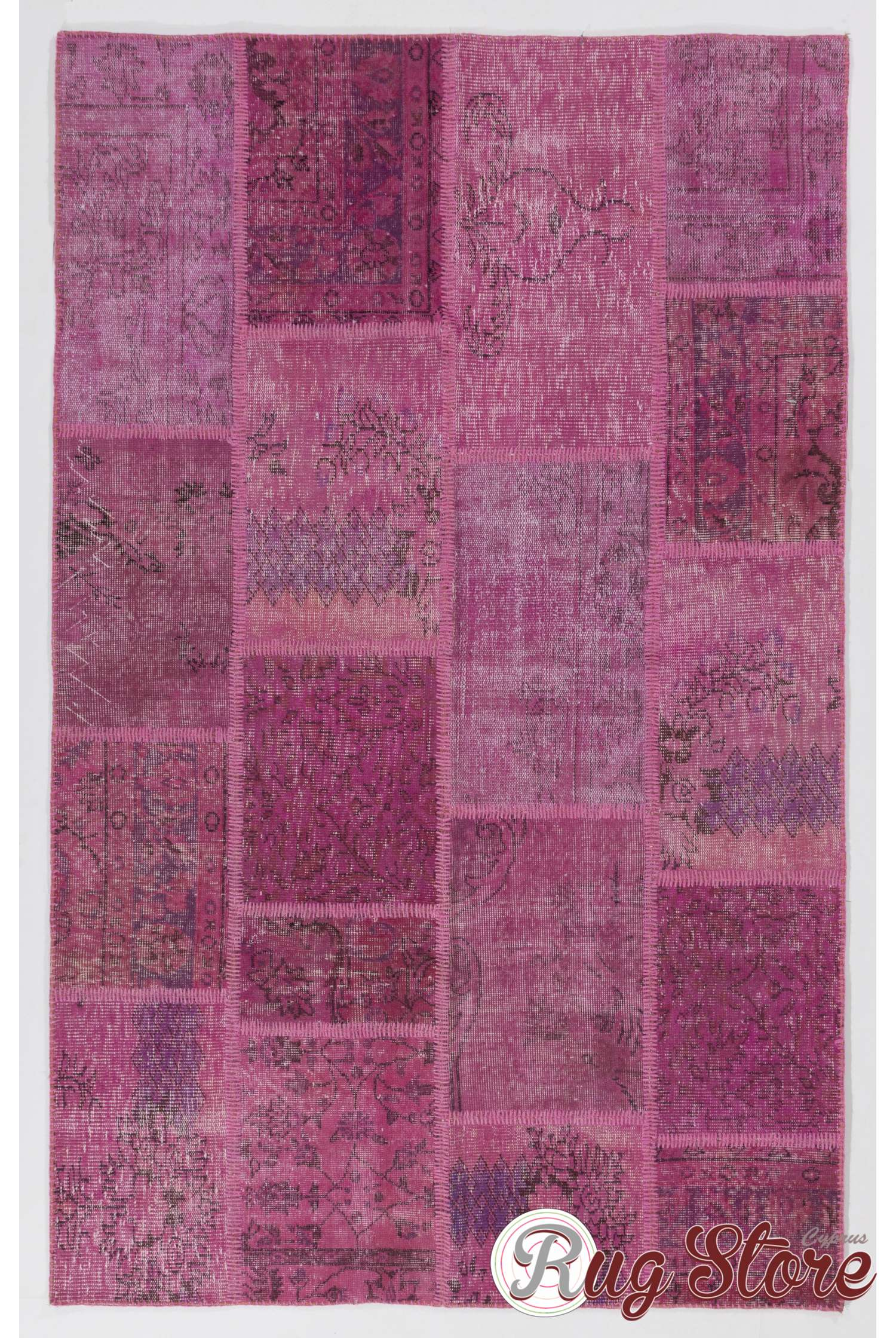 152x245 Cm Light Pink Patchwork Rug Handmade From Overdyed Distressed Vintage Turkish Rugs