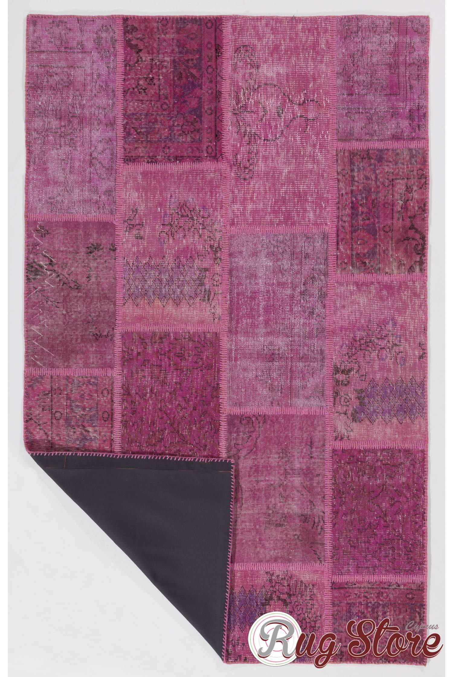 152x245 Cm Light Pink Patchwork Rug Handmade From Overdyed