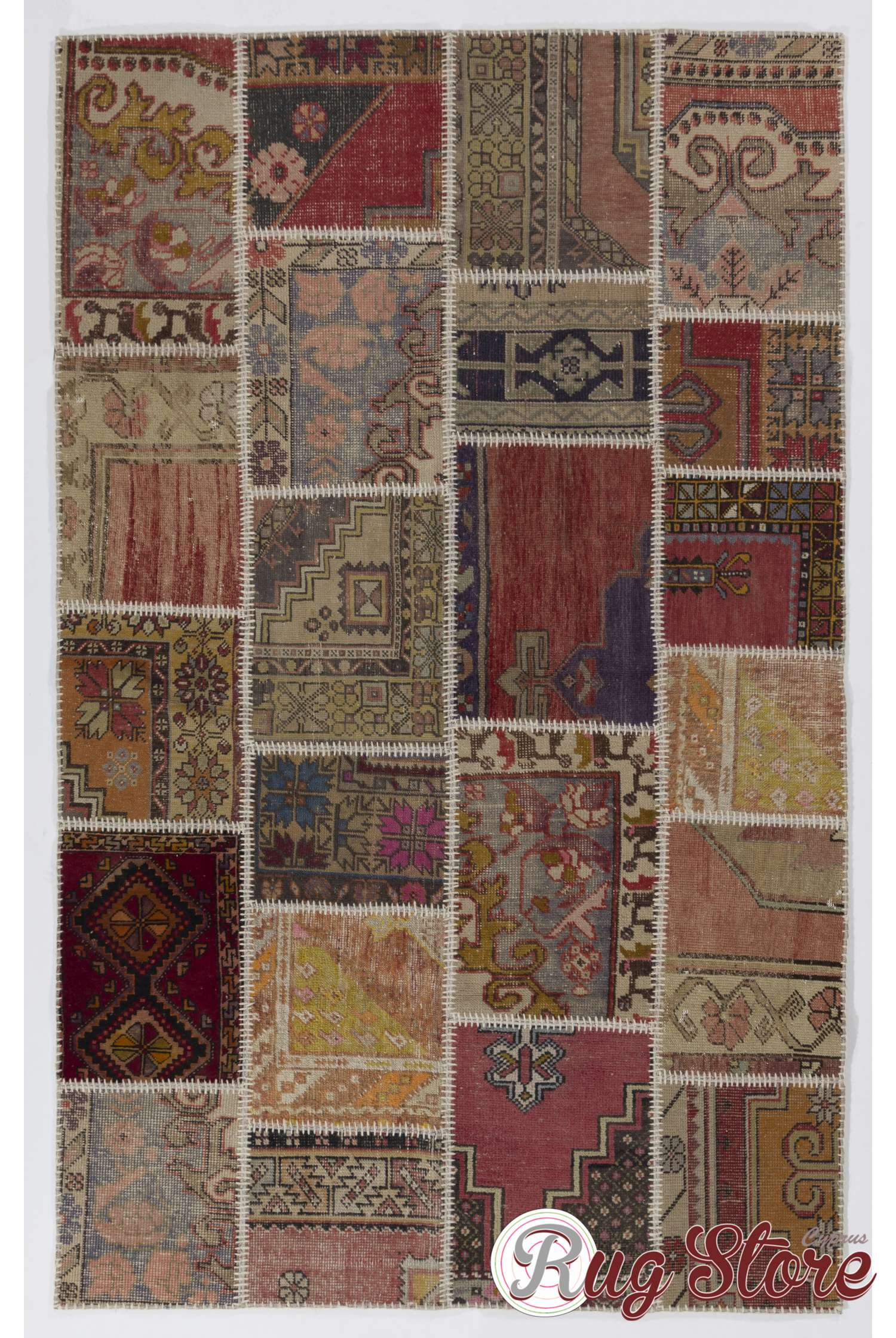Multicolor Patchwork Rug Handmade From Recycled Vintage