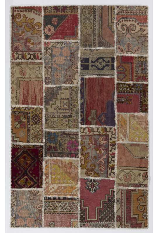 152x245 cm Multicolor Patchwork Rug, Handmade from Recycled Vintage Oriental Rugs