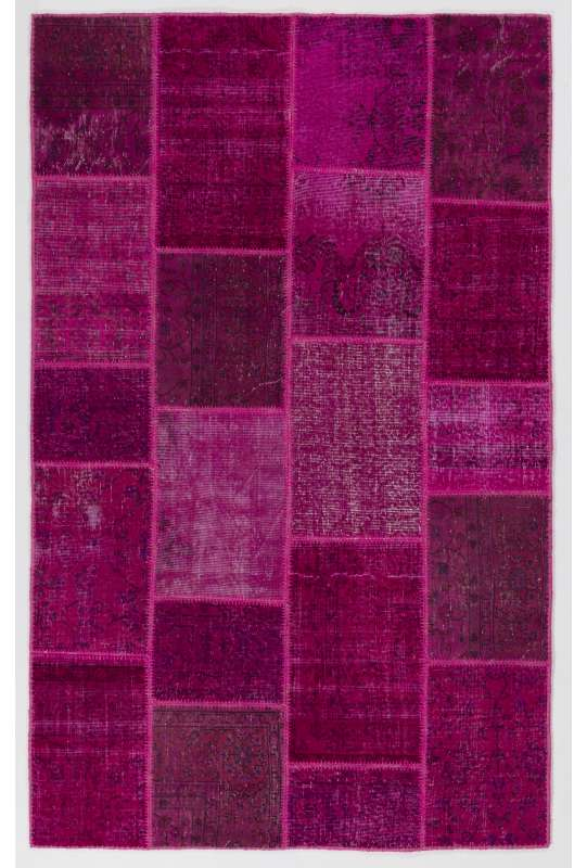 152x245 cm Dark Pink PATCHWORK Rug handmade form Overdyed Turkish Rugs