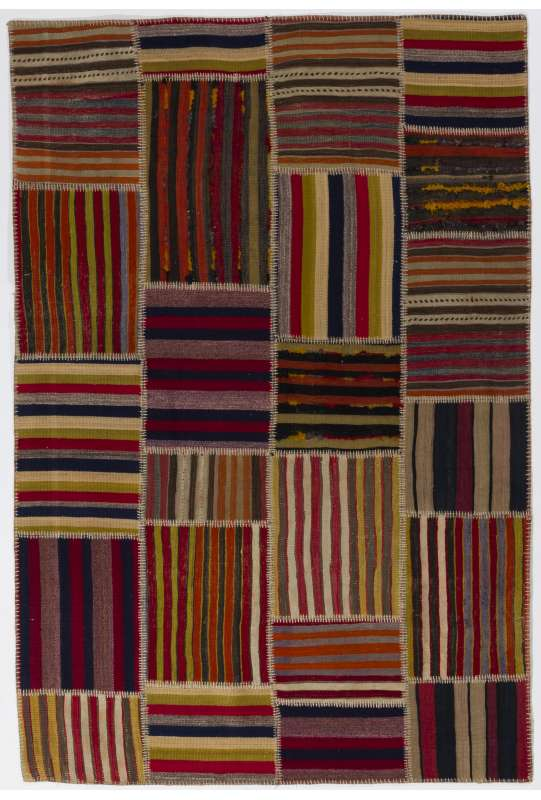 155x235 cm Multicolor PATCHWORK Rug Handmade from Natural Vintage Turkish Carpets Flatwoven Kilims