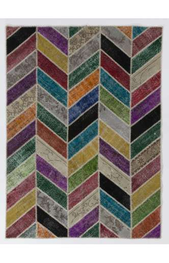 183x245 cm ( 6x8 Ft.) MultiColor Patchwork Rug, Chevron design, Handmade from OverDyed Vintage Turkish Carpets
