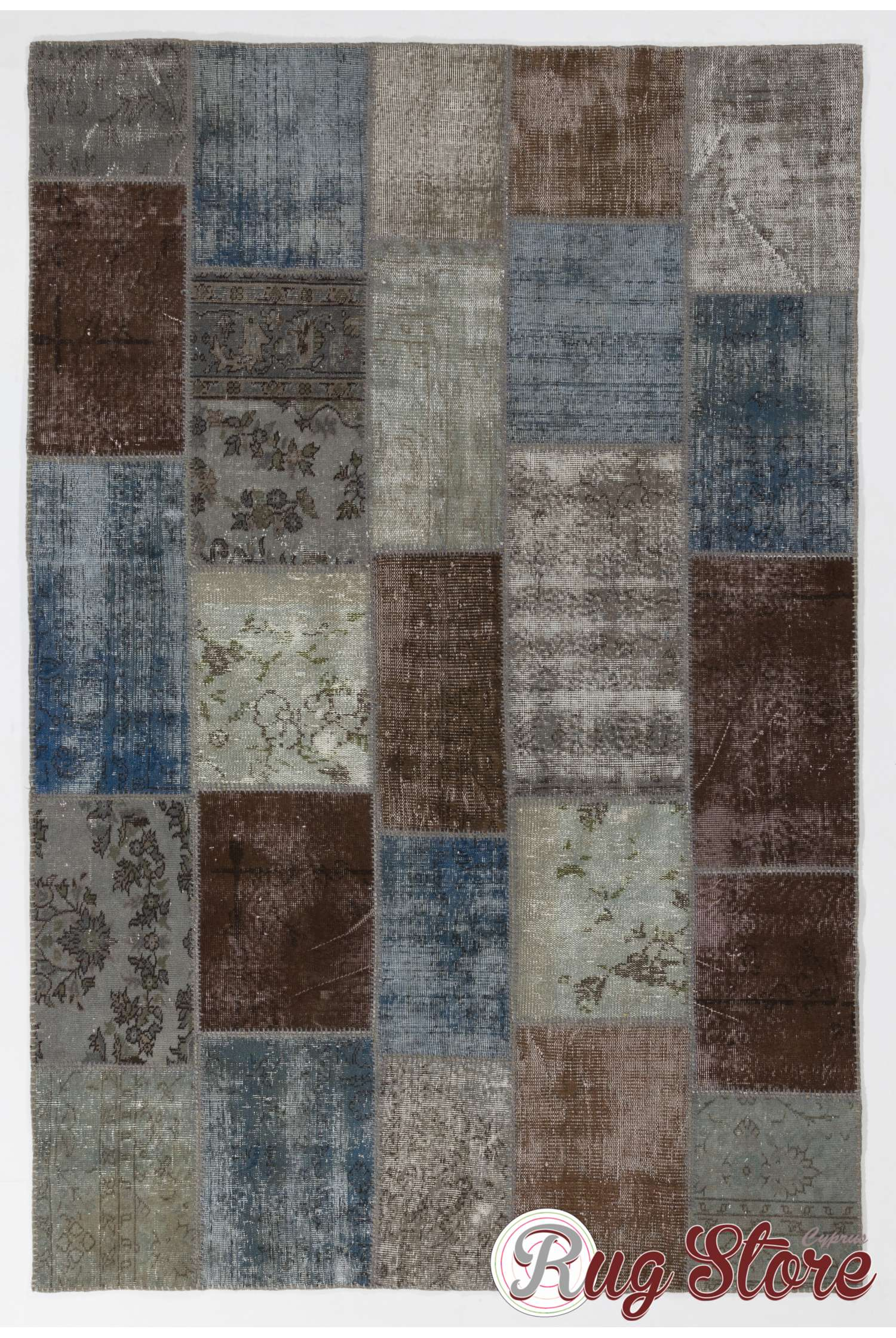 Faded Blue Brown Gray And Turquoise Color Patchwork Rug