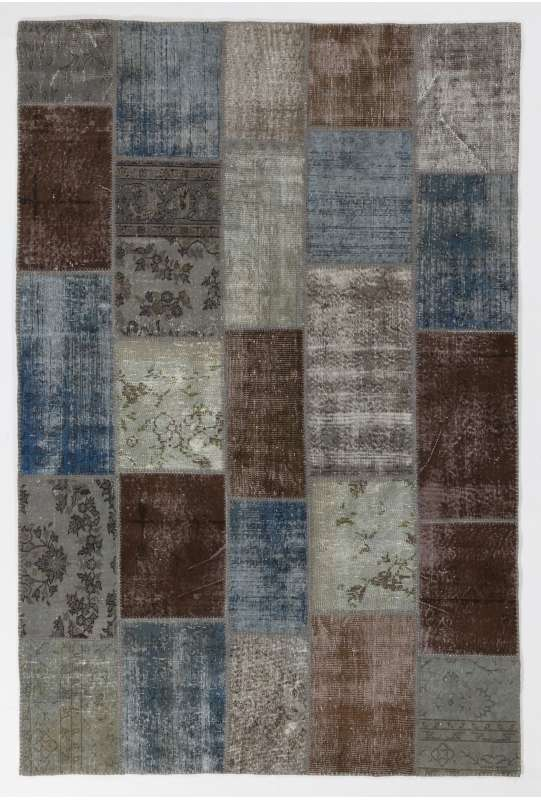 183x275 cm Faded Blue, Brown, Gray and Turquoise Color PATCHWORK Rug