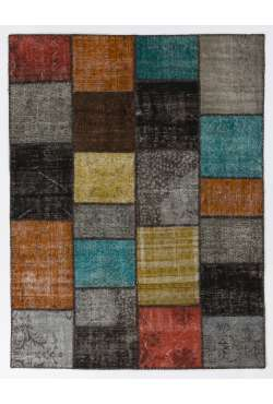 200x260 cm ( 6.6 x 8.6 Ft ) Gray, Black, Yellow, Orange, Blue Patchwork Rug