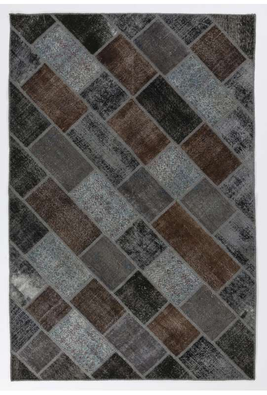 200x300 cm ( 6.6 x 9.10 Ft. ) Gray, Brown, Black color Patchwork Rug