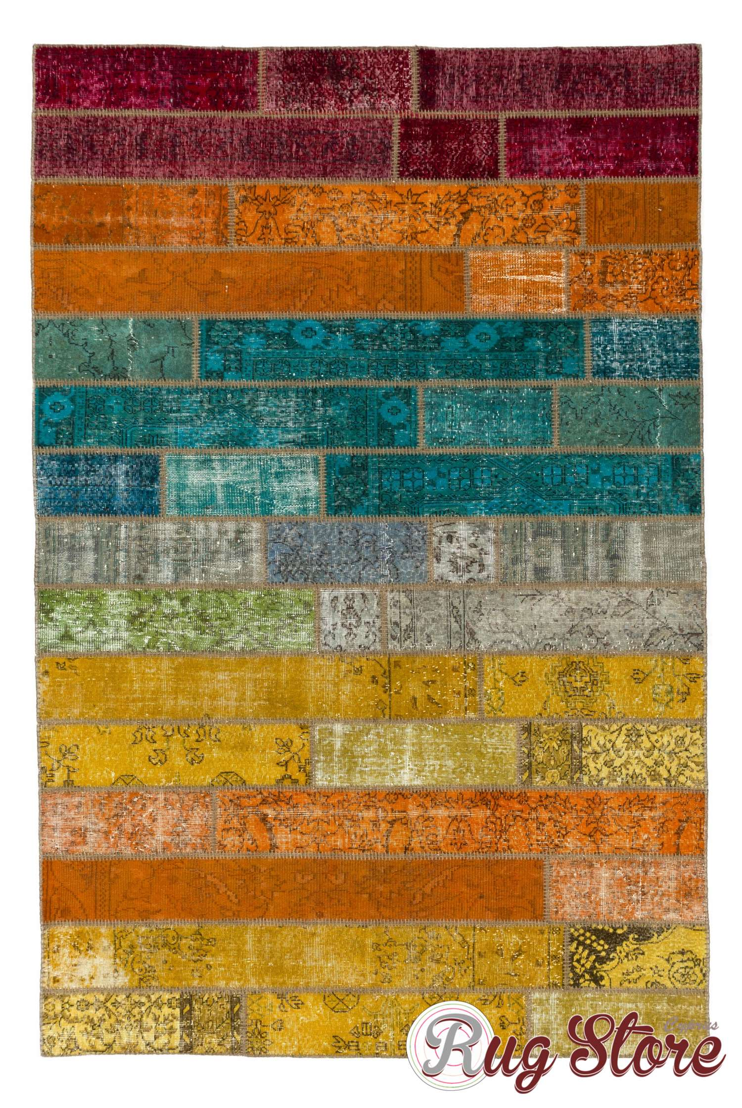 200x300 Cm Multicolor Grant Patchwork Rug Handmade From