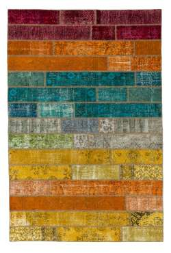 200x300 cm Multicolor Gradient PATCHWORK Rug Handmade from OVERDYED Vintage Turkish Carpets