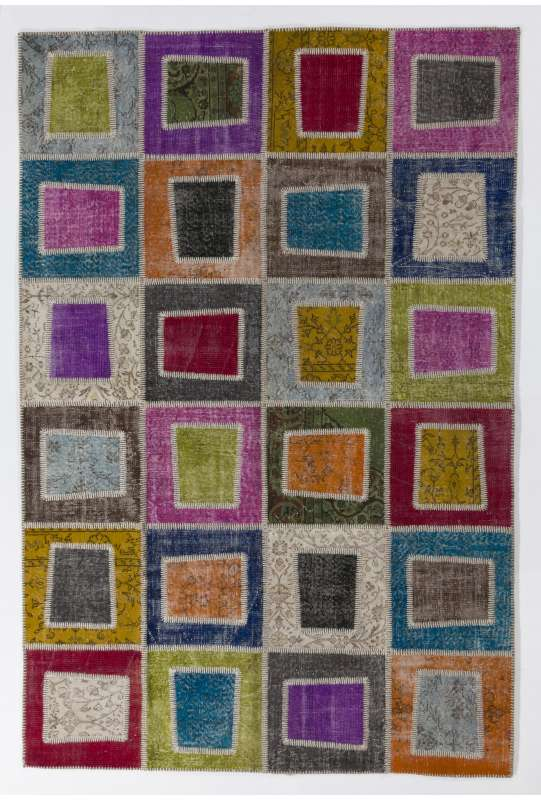 200x300 cm Multicolor PATCHWORK Rug Handmade from OVERDYED Vintage Turkish Carpets