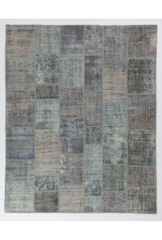 8' x 10' (245 x 305 cm) Light Blue & Turquoise Patchwork Rug