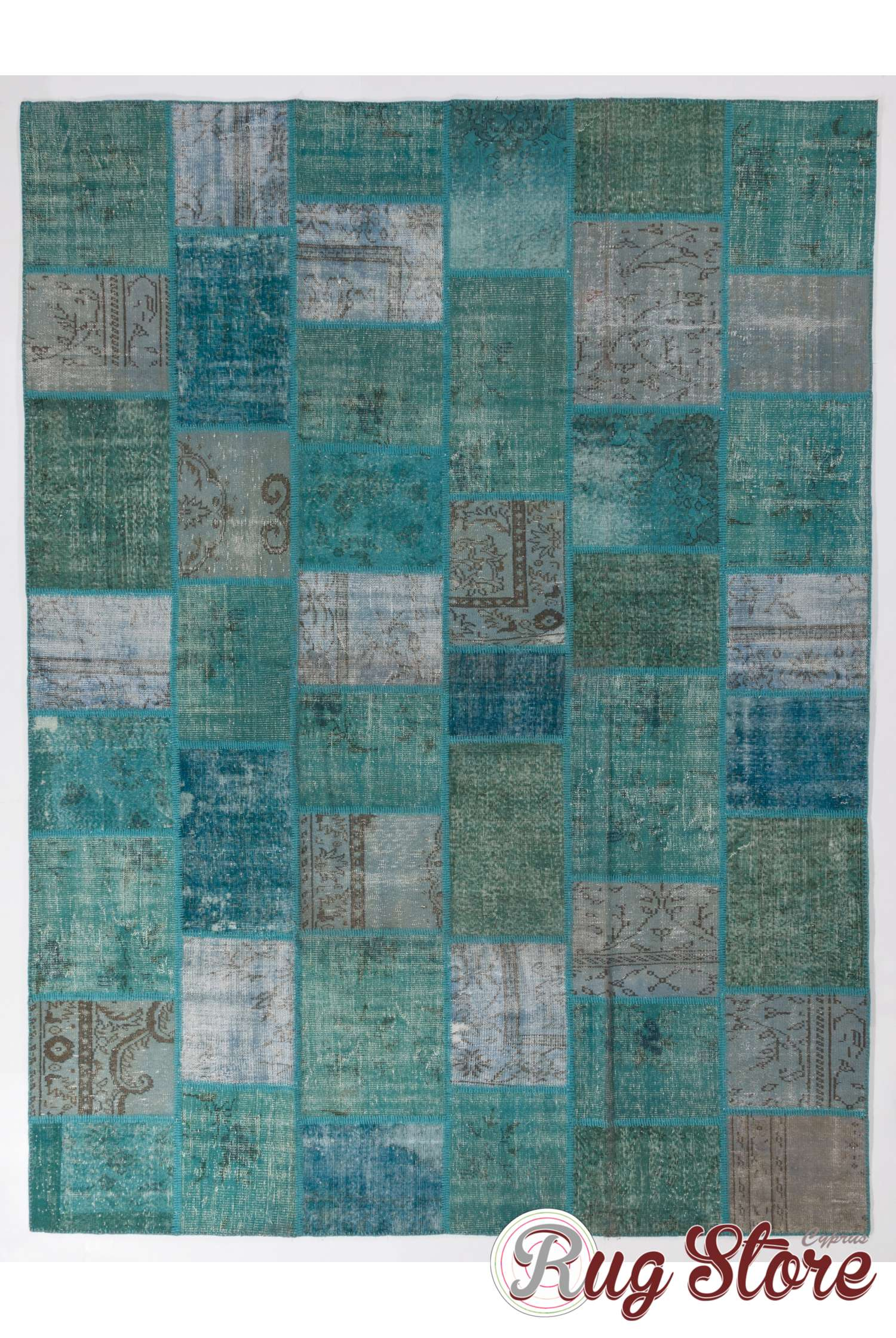 9 X 12 275x366 Cm Turquoise Teal And Light Sky Blue Vintage Patchwork Rug