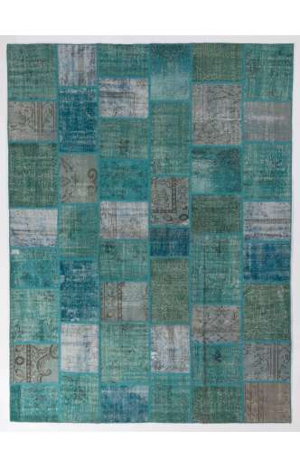9' x 12' (275x366 cm) Turquoise, Teal and light Sky Blue Vintage Patchwork Rug