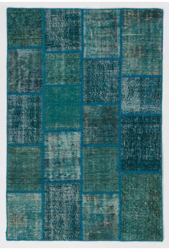 4' x 6' Blue Color Patchwork Rug
