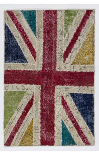 122x183 cm British Flag Union Jack Design Multicolor Patchwork Rug